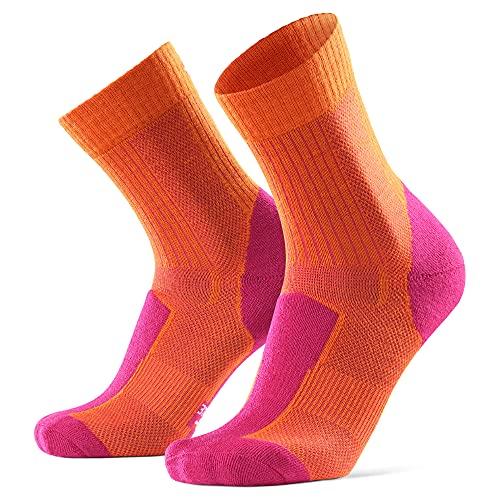 Merino Wool Light Cushion Socks (EU 35-38, Naranja/Fucsia - 1 Par)
