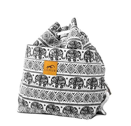 Lemur Bags Canvas Backpack Purse - Cute Eco-Friendly Drawstring Shoulder Bucket Day Bag (Elephants)