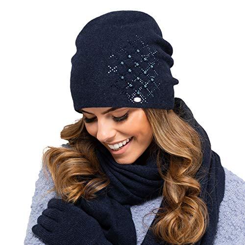 Kamea Damen Mütze Kopfbedeckung Herbst Winter Asturia, Dunkelgrau,Uni