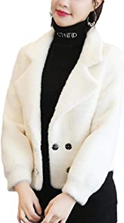 Womens Woolen Pea Coat Solid Color Double Breasted Short Trench Coat