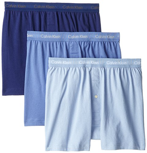 Calvin Klein Men's Cotton Classics Multipack Knit Boxers, Blue Assorted, Small