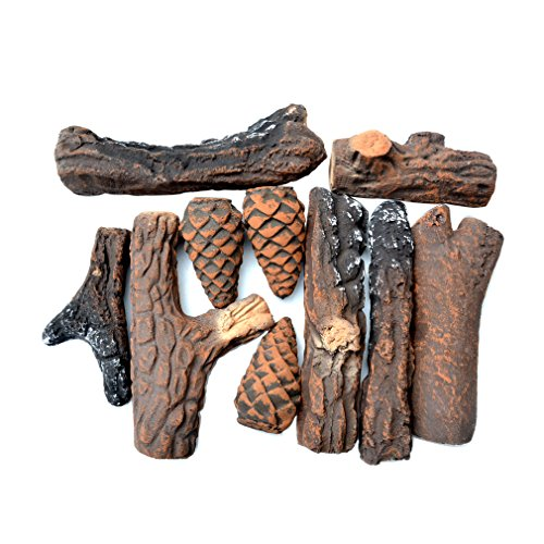 Stanbroil Fireplace 10 Piece Set of Ceramic Wood Logs for All Types of Ventless, Gel, Ethanol,...
