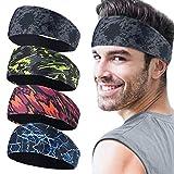 Juego de 4 cintas deportivas para hombre, cinta para el sudor deportiva para el transporte de la humedad, para correr, yoga y casco de bicicleta
