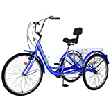 H&ZT (US in Stock) Adult Tricycle 24 inch Multiple Speeds Adult Trikes with Adjustable Handlebar and Seat Durabe Three-Wheeled Cruise Trike with Large Basket,Multiple Colors, Women Men (Blue)