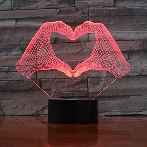 Heart-Shaped Gesture 3D LED Night Light Multi-Color Optical Table lamp, a Gift for Lover
