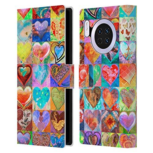 Officiële Aimee Stewart Hartjes raster Kleurrijke snoepjes Lederen Book Portemonnee Cover Compatibel voor Huawei Mate 30