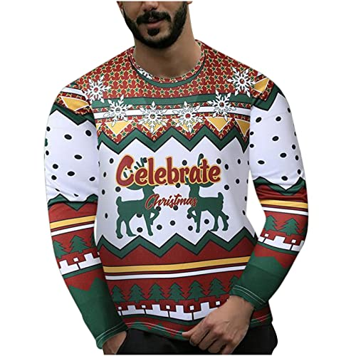 Mens Ugly Christmas Sweatshirt Sweater for Women Funny Oversized Crewneck Pullover Novelty 3D Graphic Long Sleeve Shirt Party White