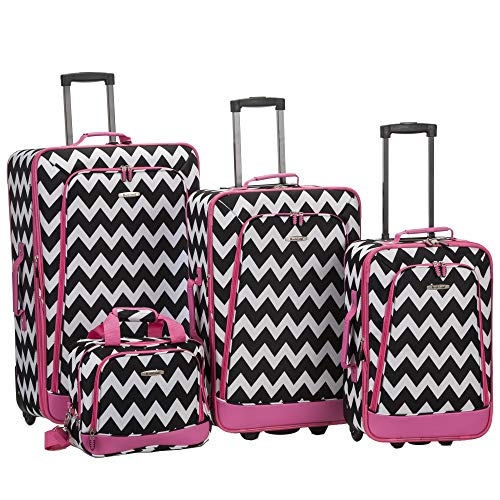 Rockland Escape 4-Piece Softside Upright Luggage Set, Pink Chevron