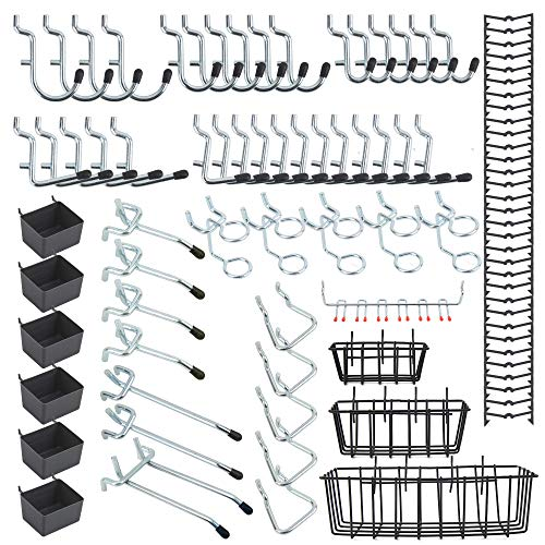 Falpro Extra Thick Heavy Duty pegboard Hooks, with 3 Pegboard Baskets, 6 Plastic Pegboard Bins, Hooks for 1 4 and 1 8 Inch Pegboard Tool Organization, 92PCS