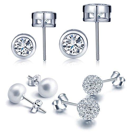 Yumilok Juego de Joyas Set de 4 pares de pendientes básicos circulares para Mujeres Chicas con Circonitas, plata de ley 925 con cristales, Pendientes Perlas