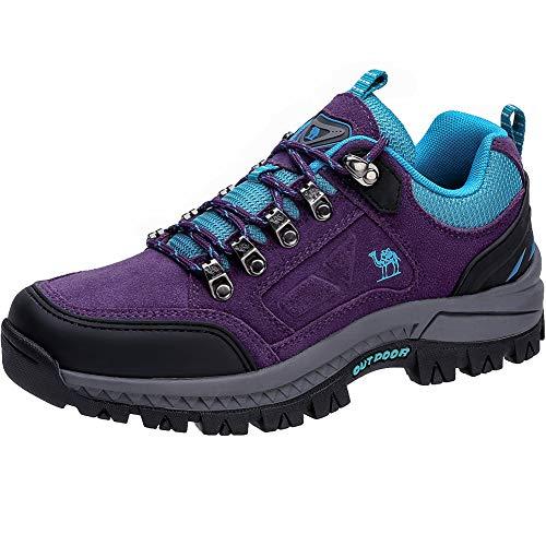 CAMEL CROWN Damen Wanderschuhe Outdoor Trekking Schuhe Sport Hiking Bergschuhe für Klettern Reisen Täglichen Gebrauch Trainer (Lila/Blau, Numeric_39)