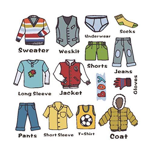 Toyandona - 1 hoja de pegatinas para ropa de niño, pegatinas para etiquetas de clasificación para organización de armario o cajones