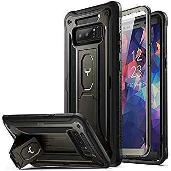 YOUMAKER Kickstand Case for Galaxy Note 8 Full Body with Built-in Screen Protector Heavy Duty Protection Shockproof Rugged Cover for Samsung Galaxy Note 8 6.3 Inch - Gun Metal/Black