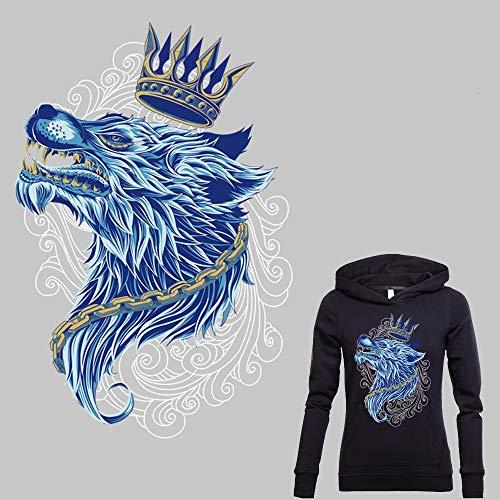 Wolf Bügelbilder 3D Cororful Wolf King Aufkleber Cool Animal Muster Aufkleber für Motorrad Jacke Biker Weste Shirts, umweltfreundliches Material Kleidung Dekoration Applikation