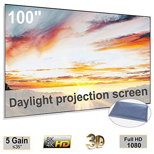 100inch Anti-Light Projection Screen Foldable Portable for LED Projectors(CiBest/VANKYO/DR. J Professional/GooDee/QKK/APEMAN.)