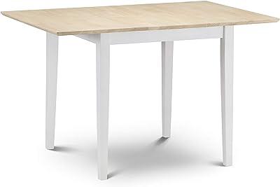 Julian Bowen Rufford Compact Table à Manger Extensible 2Tons Ivoire/Naturel laqué, Bois, Ivoire avec Dessus laqué Naturel, 80x 80x 75cm