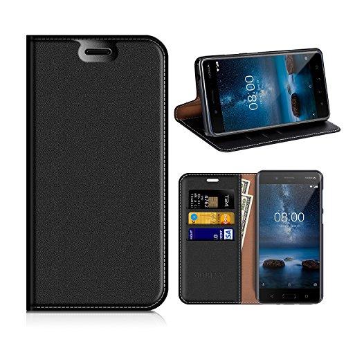 MOBESV Nokia 8 Hülle Leder, Nokia 8 Tasche Lederhülle/Wallet Hülle/Ledertasche Handyhülle/Schutzhülle mit Kartenfach für Nokia 8 - Schwarz