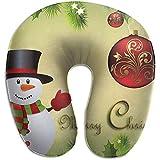 Ilustración de muñeco de nieve de Navidad Almohada para el cuello en forma de U Almohada suave con s...