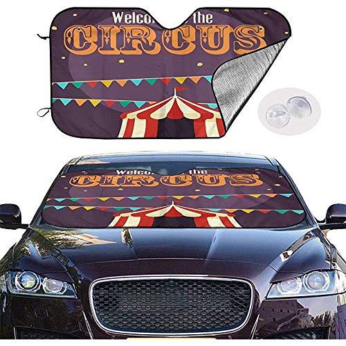KDU Fashion windscherm zonwering, retro circus-icoon stijlvolle auto-zonneschermen voor autovoertuigen SUV 70 x 130 cm