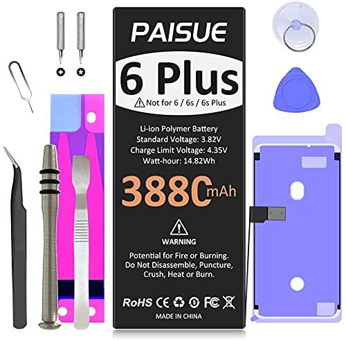 Batería de 3880 mAh para iPhone 6 Plus 2021, batería de repuesto de ciclo 0 para iPhone 6 Plus, batería de mayor capacidad para iPhone 6P A1522 A1524 A1593 con herramientas de repuesto kits