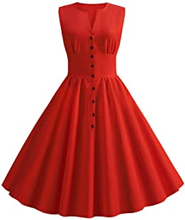 Women Dress Vintage Sleeveless Swing 50s Housewife Casual Slim Skirts Evening Party Prom Dress