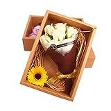 Tinksky Bouquet de flores artificiales 7 Jabón perfumado Caja de regalo regalo de cumpleaños para el Día de San Valentín / Día de la Madre / Boda / Navidad / Cumpleaños (Champagne color)