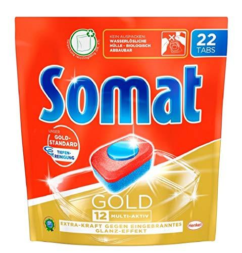 Somat 12 Gold Multi Aktiv, Spülmaschinentabs, Jahresvorrat, 176 (8 x 22) Tabs, Extra-Kraft gegen Eingebranntes und Glanz-Effekt
