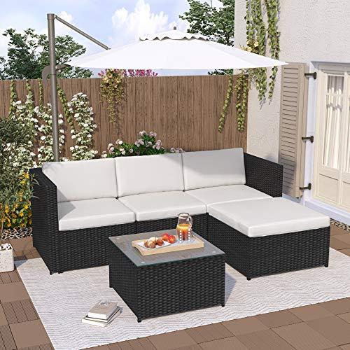 Dawns Set lounge in polyrattan, divano da giardino, divano angolare, divano con cuscino per seduta e schienale, tavolo lounge con piano in vetro (nero)