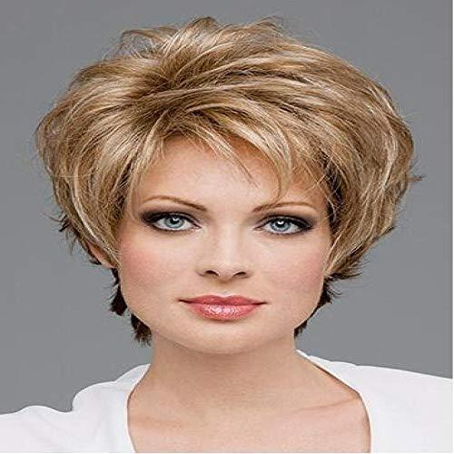 Kort blond krullend haar, 30 cm, gesimuleerd vrouwelijk haar, ademend rozennet, hoge temperatuur zijde met chemische vezels, pruik voor dagelijkse dameskleding