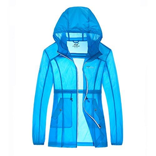 emansmoer Femme Veste Ultra-Mince Léger Protection Solaire Anti-UV Respirant Veste Outdoor Sport Quick Dry Manteau (Large, Bleu)