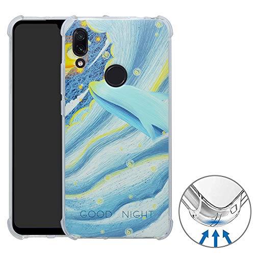 YuChen Redmi 7 / Y3 Cover, Custodia Ultra Sottile Leggero TPU Schema Gel Morbida Disegni Bumper Case per Xiaomi Redmi 7 / Redmi Y3(Not Fit Note 7),Whale