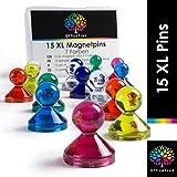 OfficeTree 15 Chinchetas Magnéticas de Colores con Imán Potente XL -...