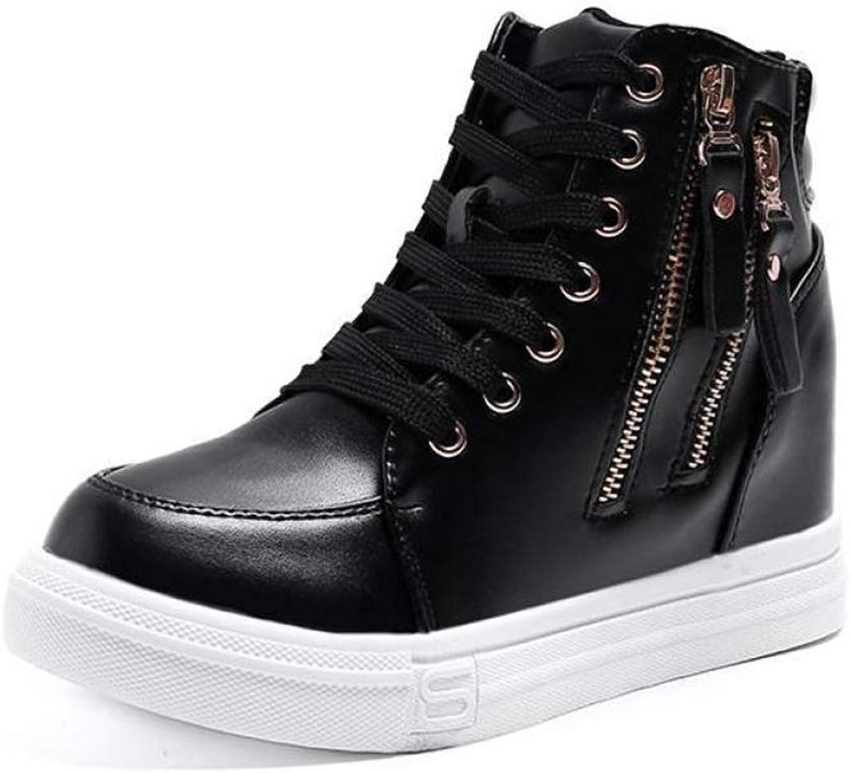 ASO-SLING Wedge Sneakers for Women Waterproof Leather Hidden Heel Height Increasing Platform Lace up Casual Walking shoes