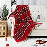 CAROMIO Christmas Plaid Chenille Throw Blankets Red and Green, Fluffy Soft Blanket with Tassel Fringe, Knitted Texture Throw for Home Couch Sofa Chair Bed Decoration (Plaid Red/Green, 50 x 60 Inches)