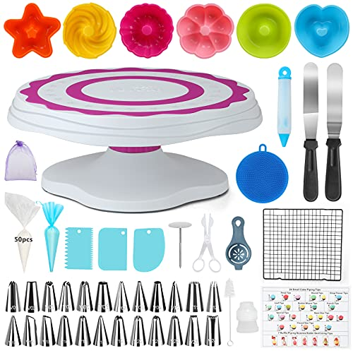 VORCAY Cake Decorating Kits Supplies-95Pcs Baking Tools Professional Cake Turntable Stand for Beginners
