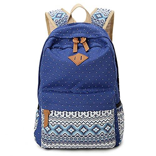 Sac à dos en toile Sac d'école Sac porté épaule - Pour Voyages, scolaire, loisirs -Cartable en toile-Marine