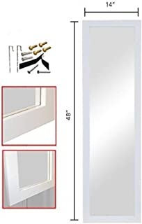 ProDecor Quality Furniture Wood Frame Full Length Wall Mirror, Over The Door Mirror Wall Rectangular - Size 14