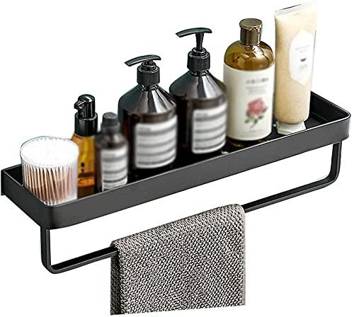 Estantes de ducha Estante de cristal para baño de vidrio negro para pared de vidrio templado Estante de baño con toallero (color: negro2, tamaño: 30 cm) (color: negro2, tamaño: 50 cm)