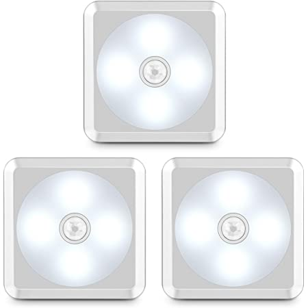 URPOWER Motion Sensor Light, Battery Operated Closet Light Wireless Motion Sensor Closet Lights Stick-on Anywhere Motion Sensor Night Lights for Stair, Cabinet, Closet, Bathroom-Cool White 3 Pack