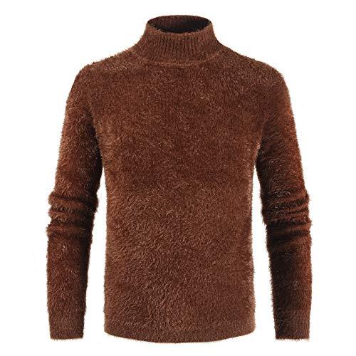 Suéter de Felpa de Cuello Alto para Hombre Color sólido Moda Cientos de Ropa de Calle cálida Casual Cómodo Jersey básico de Todo fósforo XL