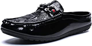 Xujw-shoes, Crocodile Texture Slip On Loafers Mens Black White Shoes for Men Boat Moccasins Slip On Style PU Leather Fashion Classic Metal Decor Classic Stylish