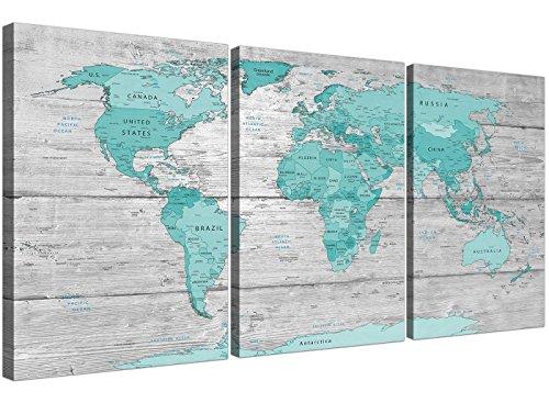3299 - Lienzo decorativo para pared con diseño de mapa del mundo (125 cm), color verde azulado y gris
