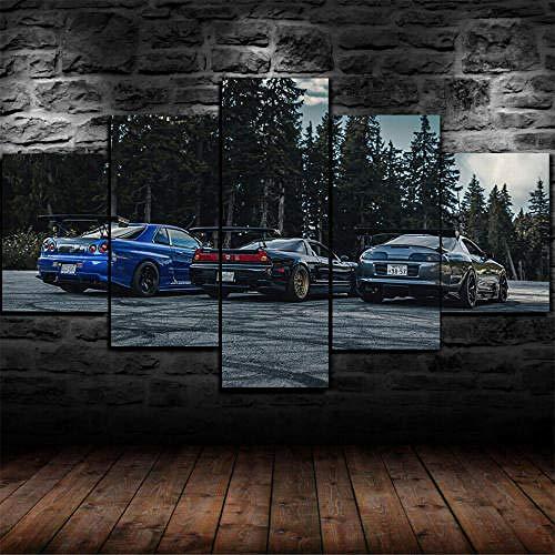 13Tdfc Cuadros Deco Salon Modernos 5 Piezas Lienzo Grandes XXL Murales Pared Hogar Pasillo Deco Arte Pared Abstracto Enmarcado NSX Vs Skyline R34 Vs Supra HD Impresión Foto 150X80Cm Regalo