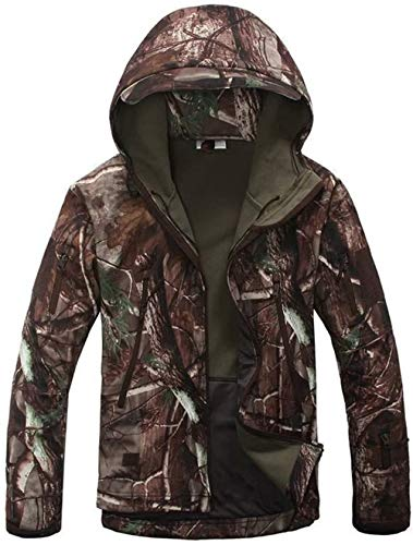 OLOEY Herren Tactical Softshell Fleecejacke Camouflage Military Hoodie Herbst Winter Outdoor Fleecejacke Wasserdicht Winddicht Warme Kapuze Wandern Skijacke Jagdmantel