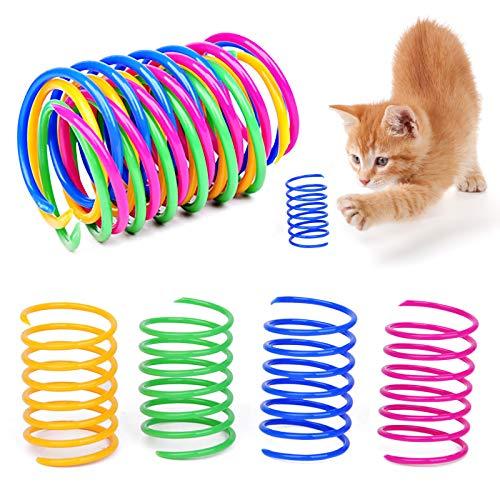 Grantop 20 Stück Katze Spielzeug, Buntes kreatives Kunststoff Spiralfedern Spirale,Spielzeug Spiralfedern Neuheit Haustiere Spielzeug Bunte Spiralfedern Spring Spirale für Katze