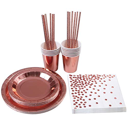 Aneco 72 Pieces Rose Gold Party Supplies Party Tableware Foil Paper Plates Napkins Cups Straws for Party, Weddings, Anniversary, Birthday for 12 Guests