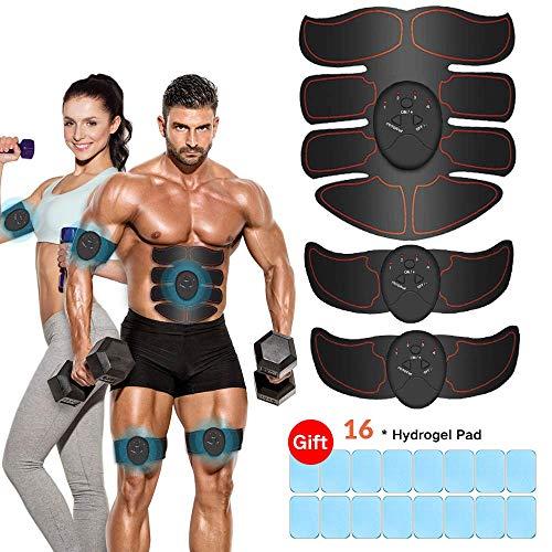 Estimulador Muscular Abdominales, EMS Electroestimulador Muscular Abdominales, ABS Estimulador Muscula para Hombre/Mujer, Abdomen Brazo Piernas Glúteos, Almohadillas de Gel 16pcs (Negro) 🔥