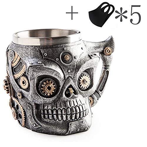 MFZJ Schädel Tasse, 3D Schädel Tasse Edelstahl Krug Tasse Kaffee Tee Wasser Trinkbecher für Party oder Bar, Halloween Weihnachtsfeier Bar Dekoration + 5 zusätzliche Geschenke