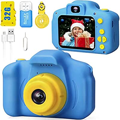 Desuccus Kids Camera HD 1080p Video Digital Camera for Kids Birthday Gift for 3-8 Year Old Boys and Girls Toddler Video Record Camera with 32GB SD Card 2.0 Inch IPS Screen 5 Puzzle Games