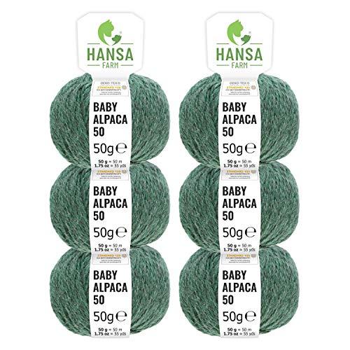 HANSA-FARM 100% Laine d'alpaga (bebé) dans 50+ Couleurs (ne Gratte Pas) - Kit de 300g (6 x 50g) - Laine Baby alpaga pour Tricot & Crochet dans 6 épaisseurs de Fil de Emeraude (Heather)